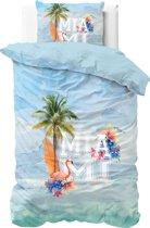 Sleeptime Miami Summer - Dekbedovertrek - Eenpersoons - 140x200/220 + 1 kussensloop 60x70 - Blauw