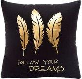 Follow Your Dreams Kusssenhoes   Katoen   45 x 45 cm   Zwart - Goud