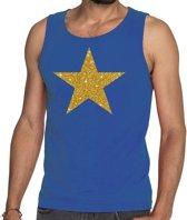 Gouden ster glitter tekst tanktop / mouwloos shirt blauw heren - heren singlet Gouden ster M