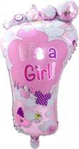 Folieballon voetje geboorte meisje 70 cm - babyshower versiering