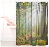 relaxdays douchegordijn bos 180 x 180 cm - badkuipgordijn - anti-schimmel badkamer gordijn