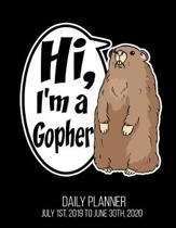 Hi, I'm A Gopher Daily Planner July 1st, 2019 To June 30th, 2020: Funny Halloween Party Daily Planner