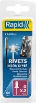 Rapid Waterdichte blindklinknagel Ø 3,2 x 8 mm 50 stuks + boortje