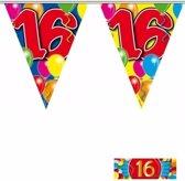 3x vlaggenlijn / slinger 16 jaar met gratis sticker - leeftijd versiering