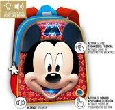 Disney Micky Mouse Rugzak + Licht + Geluid 24x30x9 cm Blauw/Rood