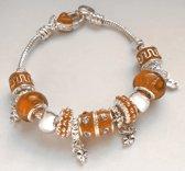 Bedel armband pandora stijl bruin met een hartje en klavertjes 4