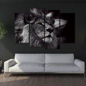 Leeuw Canvas Doeken - Vierluik - Zwart Wit - 120 x 80 - Zonder Frame