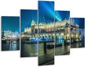 Glasschilderij Gebouw | Grijs, Blauw | 100x70cm 5Luik | Foto print op Glas |  F006018