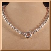 Zilveren Jasseron collier van 8 mm breed