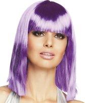 Half lange paarse pruik voor vrouwen  - Verkleedpruik - One size