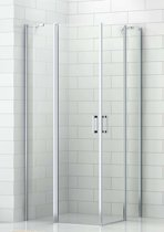 Saqu Engis Douchecabine Hoekinstap met draaideur 90x210cm Aluminium hoogglans/Helder glas (antikalk)