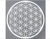 Wanddecoratie -  groot 75 cm - flower of life - wit