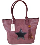 David Jones STER Schoudertas Handtas Shopper Trendy Ruime Tas Bordeaux