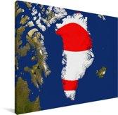 Satellietbeeld van Groenland met de vlag Canvas 80x60 cm - Foto print op Canvas schilderij (Wanddecoratie woonkamer / slaapkamer)