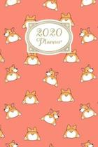 Planner: 2020 diary: Increase productivity, improve time management, reach your goals: Cute Corgi butt illustration trendy cora