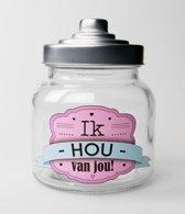 Valentijn - Snoeppot Ik hou van Jou - Gevuld met verse snoepmix - In cadeauverpakking met gekleurd lint