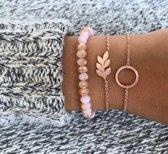 Lovelymusthaves Minimalistische Armband Cirkel - Dames - Roségoudkleurig - 15 cm