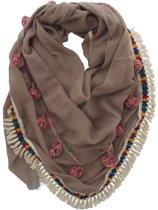 Sjaal in stijl Ibiza / Boho met Flosjes en Franjes - Katoen en Viscose - 140x140cm - Bruin - Dielay
