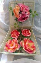 Beeld Mandjes Pioen rozen set van 5 stuks Groen