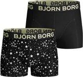 Bjorn Borg SHORTS SAMMY BB GRAPHIC STAR Jongens Boxershort - 2P - Zwart - Maat 134-140