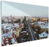 Winter in Praag Glas 180x120 cm - Foto print op Glas (Plexiglas wanddecoratie) XXL / Groot formaat!