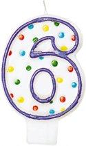 Amscan Verjaardagskaars 6 - Polka Dots 7,6 Cm Paars/wit