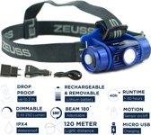 Zeuss XP-5 Hoofdlamp - LED 250 Lumen - Oplaadbaar - 40 uur accu -  120 meter licht afstand - Valbestendig - Waterproof - Dimbaar - Bewegings sensor