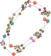 Behave® Dames lange ketting multi kleur met kralen en vlinder hangers 120 cm