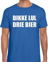 Dikke Lul Drie Bier heren shirt blauw - Heren feest t-shirts 2XL