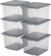 IRIS Useful Storage Opbergbox - 10 l - 6 stuks - Grijs/Transparant