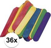 36 gekleurde ijsstokjes knutselhoutjes 15 x 2 cm - knutselstokjes