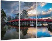 Glasschilderij Brug | Rood, Blauw, Grijs | 120x80cm 3Luik | Foto print op Glas |  F005995
