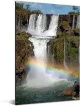 Iguacu-watervallen met een regenboog Aluminium 120x180 cm - Foto print op Aluminium (metaal wanddecoratie) XXL / Groot formaat!