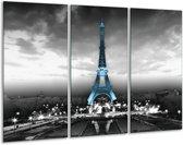 Glas schilderij Parijs, Eiffeltoren   Zwart, Wit, Blauw   120x80cm 3Luik   Foto print op Glas    F007045