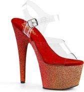 ADORE-708OMBRE (EU 38 = US 8) 7 Heel, 2 3/4 Ombre Glittered PF Ankle Strap Sandal
