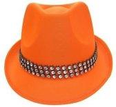 Gangster hoed oranje met strass band