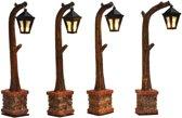Vier houten lantaarns 10,5 cm hoog