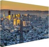 San Francisco in ochtendlicht Canvas 180x120 cm - Foto print op Canvas schilderij (Wanddecoratie woonkamer / slaapkamer) / Steden Canvas Schilderijen XXL / Groot formaat!