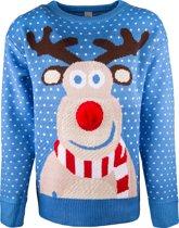 JAP Foute kersttrui - Rudolf met 3D neus voor volwassenen - Dames en heren - XL - Blauw