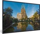 Foto in lijst - Sagrada Familia op een middag in Barcelona fotolijst zwart 60x40 cm - Poster in lijst (Wanddecoratie woonkamer / slaapkamer)
