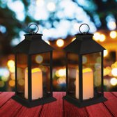relaxdays 2x led lantaarn - vlameffect - sfeerverlichting - windlicht - zwart - 30 cm hoog