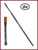 6x Penseel plat nr. 3 mt. 6 mm breed