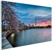 Washington monument bij zonsopkomst Glas 120x80 cm - Foto print op Glas (Plexiglas wanddecoratie)