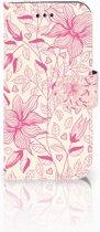 Samsung Galaxy A3 2017 Uniek Boekhoesje Pink Flowers