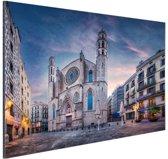 Kerk Santa Maria del Mar in Barcelona Aluminium 60x40 cm - Foto print op Aluminium (metaal wanddecoratie)
