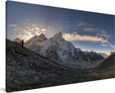 Panoramisch uitzicht over Mount Everest in Nepal Canvas 160x80 cm - Foto print op Canvas schilderij (Wanddecoratie woonkamer / slaapkamer)