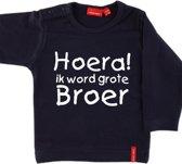T-shirt lange mouw    Hoera! ik word grote broer  navy   maat 74/80