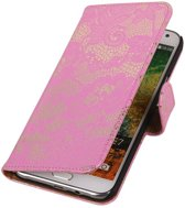 Wicked Narwal | Lace bookstyle / book case/ wallet case Hoes voor Samsung Galaxy E7 Roze