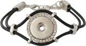 Lederen armband voor click buttons Kleur:Zwart - Lengte:One size