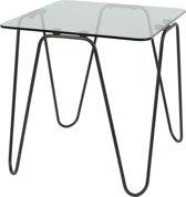 Torna Design Aramis 40 Rookglas - Bijzettafel - 38x38x38 cm - Zwart Staal/Rookglas
